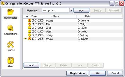 Golden FTP server - download free ftp server software for
